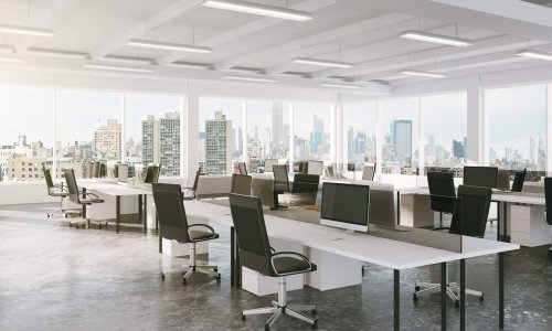 Modern,Open,Space,Office,With,City,View,3d,Render